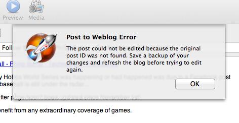 Post to Weblog Error 1